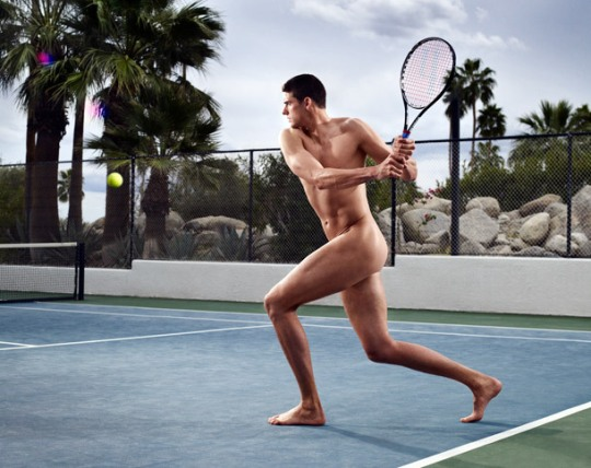 John Isner stripped for ESPN. Photo: ESPN