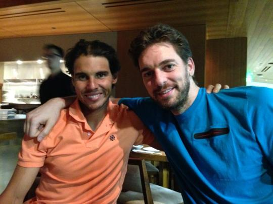 Rafa Nadal tried to remain upbeat after defeat with Spanish professional basketball player, Pau Gasol.