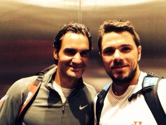 Roger Federer and Stanislas Wawrinka were celebrating after their doubles success.